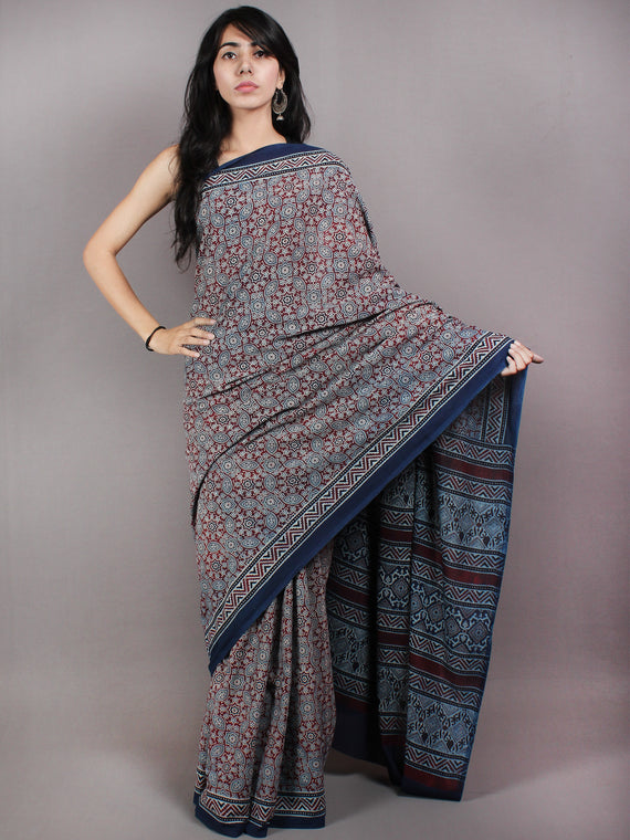 Indigo Maroon Ivory Mughal Nakashi Ajrakh Hand Block Printed in Natural Vegetable Colors Cotton Mul Saree - S03170605