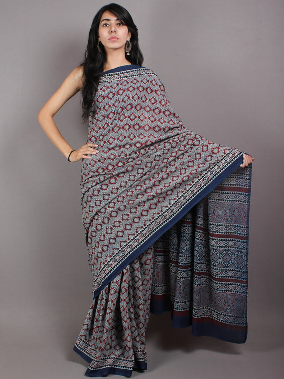 Indigo Maroon Ivory Mughal Nakashi Ajrakh Hand Block Printed in Natural Vegetable Colors Cotton Mul Saree - S03170606