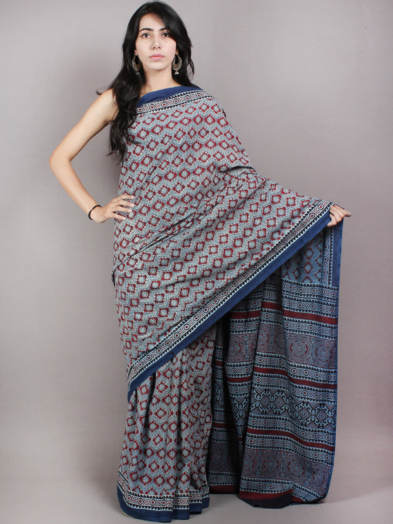Indigo Maroon Black Mughal Nakashi Ajrakh Hand Block Printed in Natural Vegetable Colors Cotton Mul Saree - S03170613