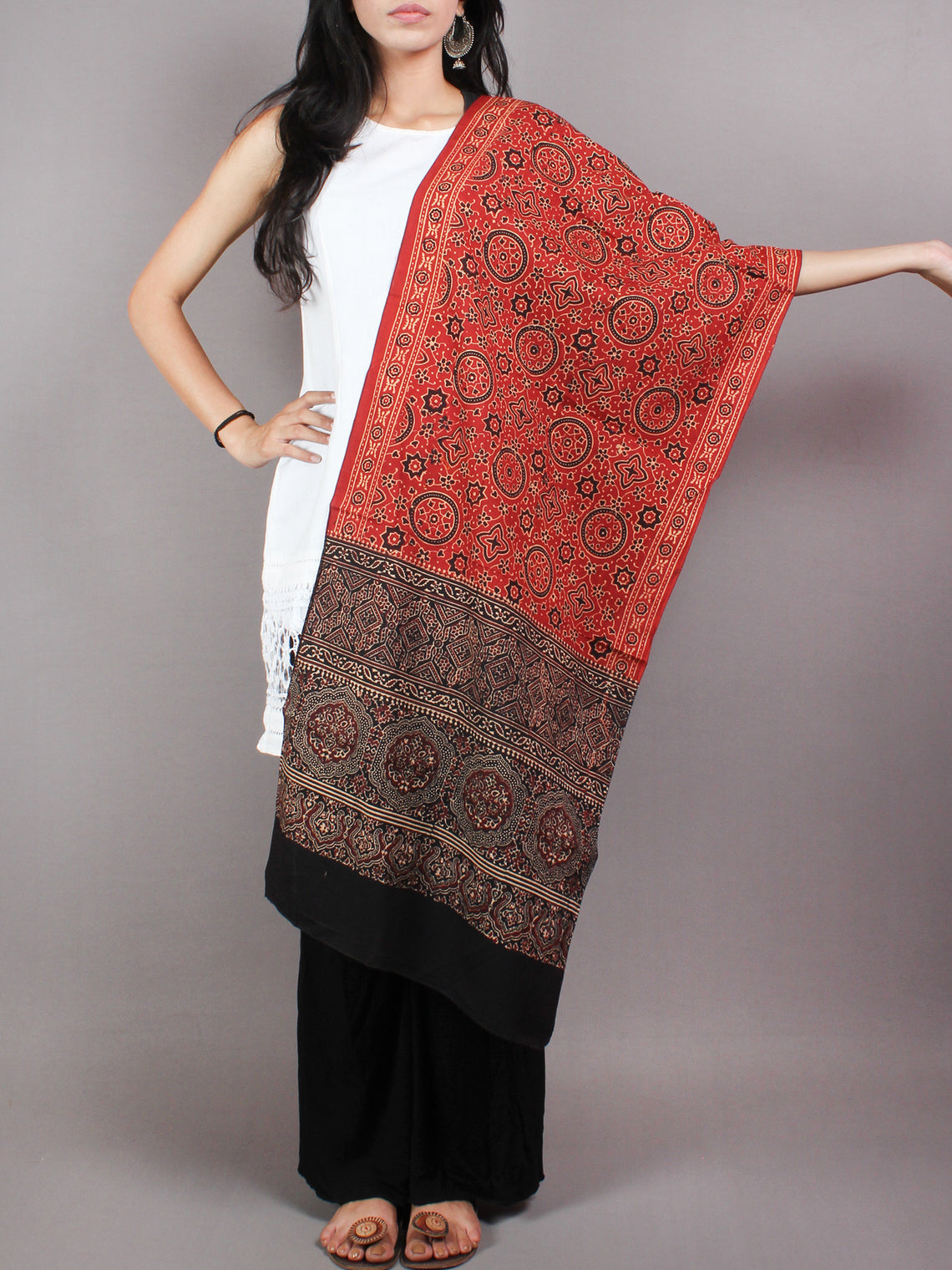 Red Black Mughal Nakashi Ajrakh Hand Block Printed Cotton Stole - S6317025