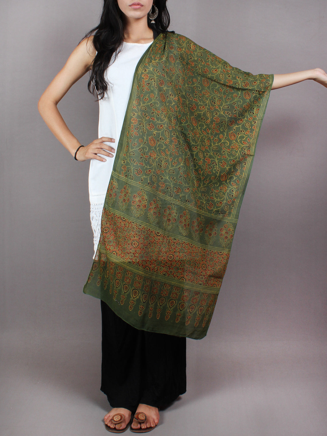 Green Red Brown Mughal Nakashi Ajrakh Hand Block Printed Cotton Stole - S6317028