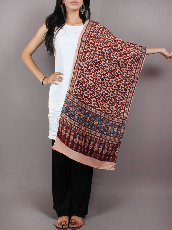 Salmon Pink Maroon Blue Mughal Nakashi Ajrakh Hand Block Printed Cotton Stole - S6317030