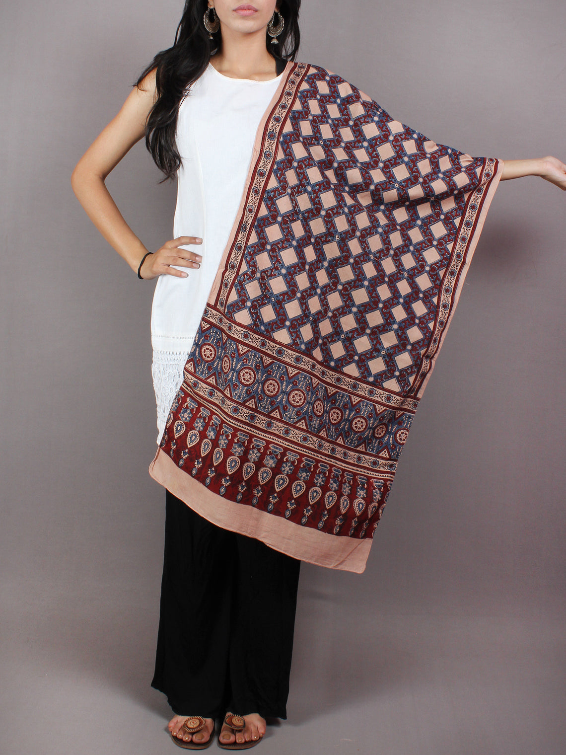 Salmon Pink Maroon Blue Mughal Nakashi Ajrakh Hand Block Printed Cotton Stole - S6317031