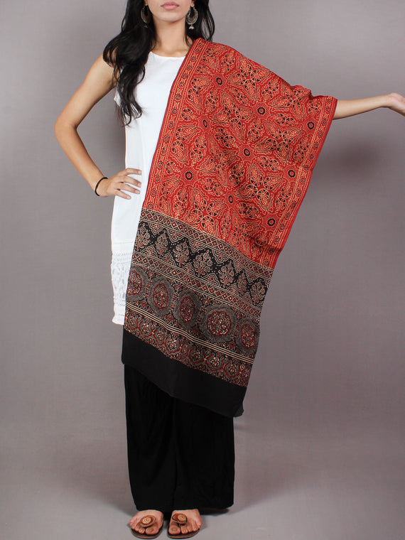 Red Black Maroon Mughal Nakashi Ajrakh Hand Block Printed Cotton Stole - S6317034