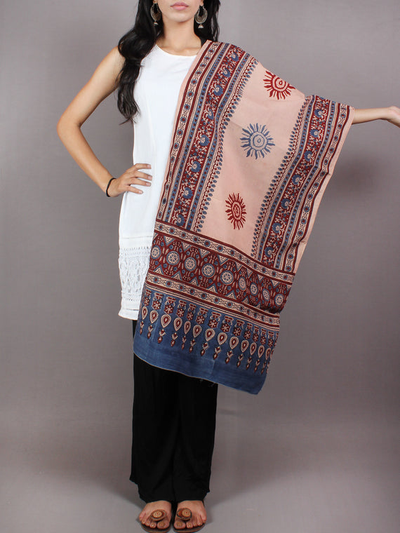 Salmon Pink Blue Maroon Mughal Nakashi Ajrakh Hand Block Printed Cotton Stole - S6317035