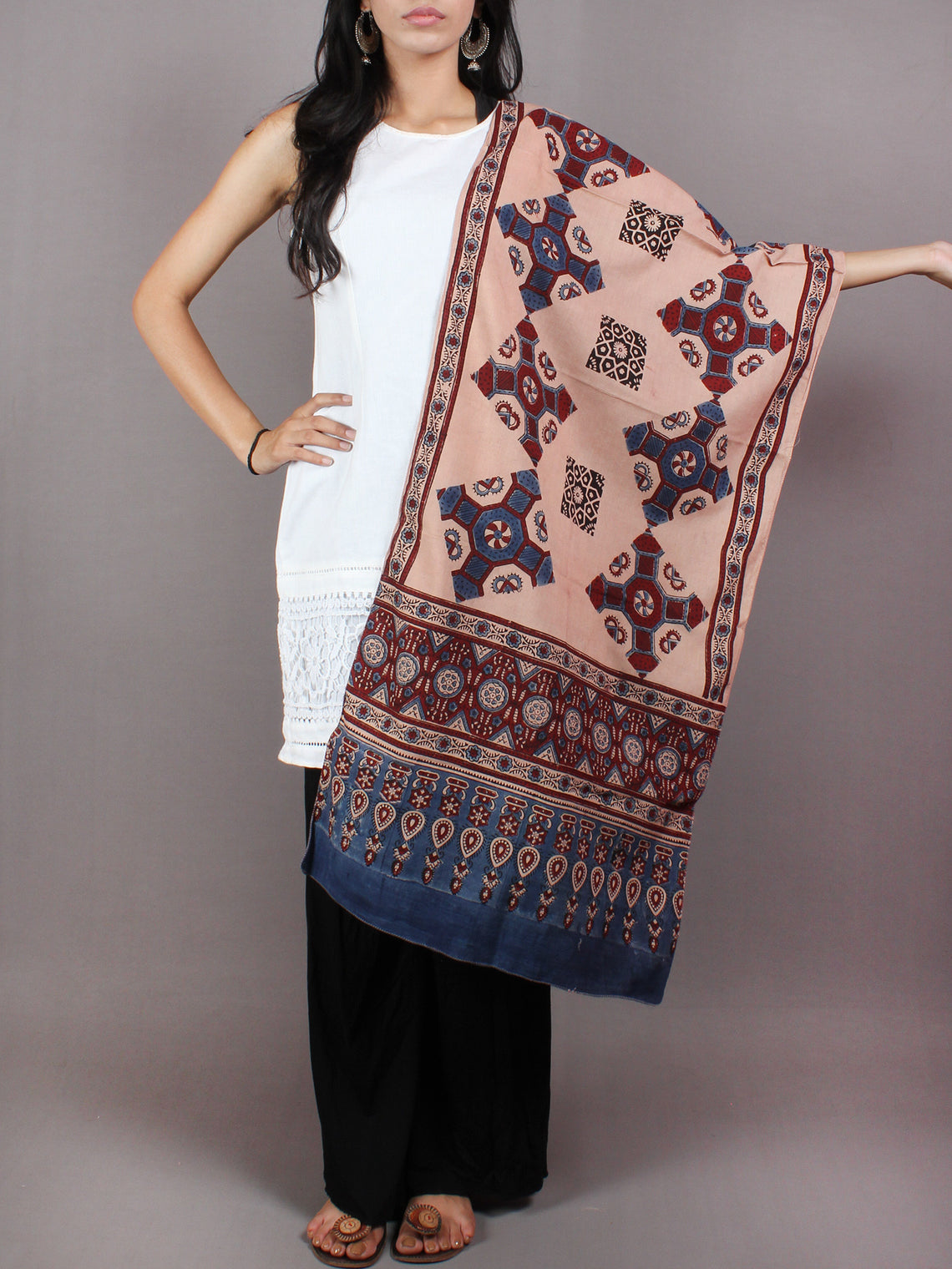 Salmon Pink Blue Maroon Mughal Nakashi Ajrakh Hand Block Printed Cotton Stole - S6317036