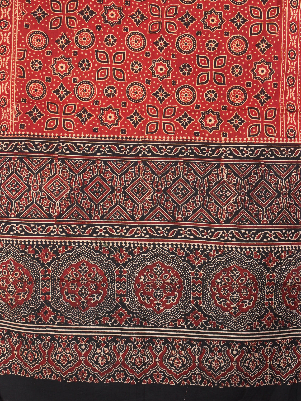 Red Black Maroon Mughal Nakashi Ajrakh Hand Block Printed Cotton Stole - S6317032