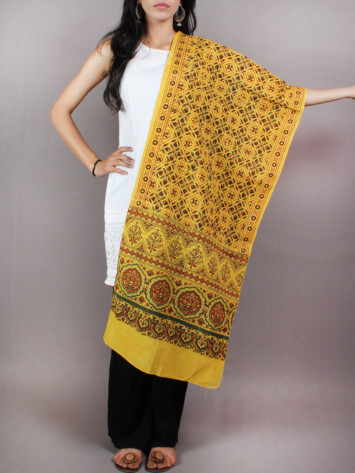Yellow Green Red Mughal Nakashi Ajrakh Hand Block Printed Cotton Stole - S6317038