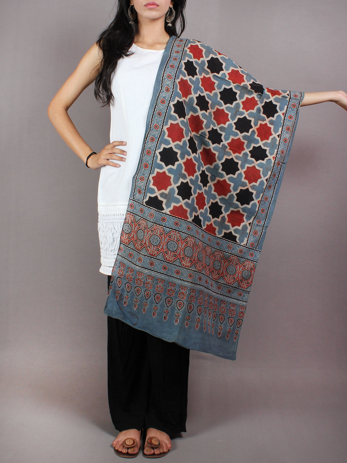 Stone Blue Red Black Mughal Nakashi Ajrakh Hand Block Printed Cotton Stole - S6317039