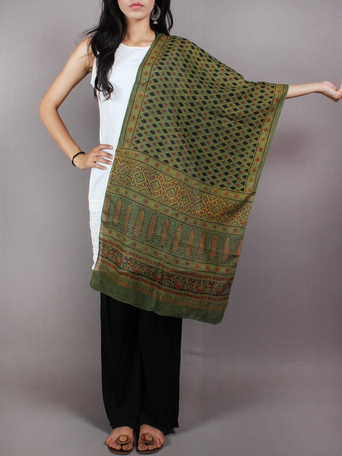 Green Multi Color Mughal Nakashi Ajrakh Hand Block Printed Cotton Stole - S6317040