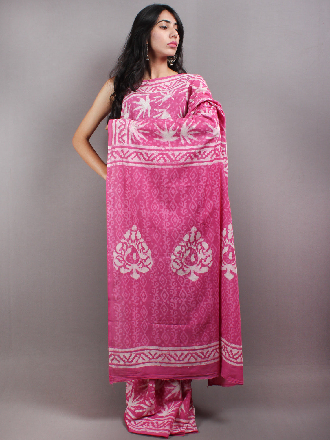 Pink White Hand Block Printed in Natural Colors Cotton Mul Saree - S03170629