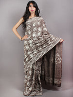 Brown Beige Ivory Hand Block Printed in Natural Colors Cotton Mul Saree - S03170631