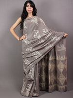 Pigeon Grey Ivory Hand Block Printed in Natural Colors Cotton Mul Saree - S03170632