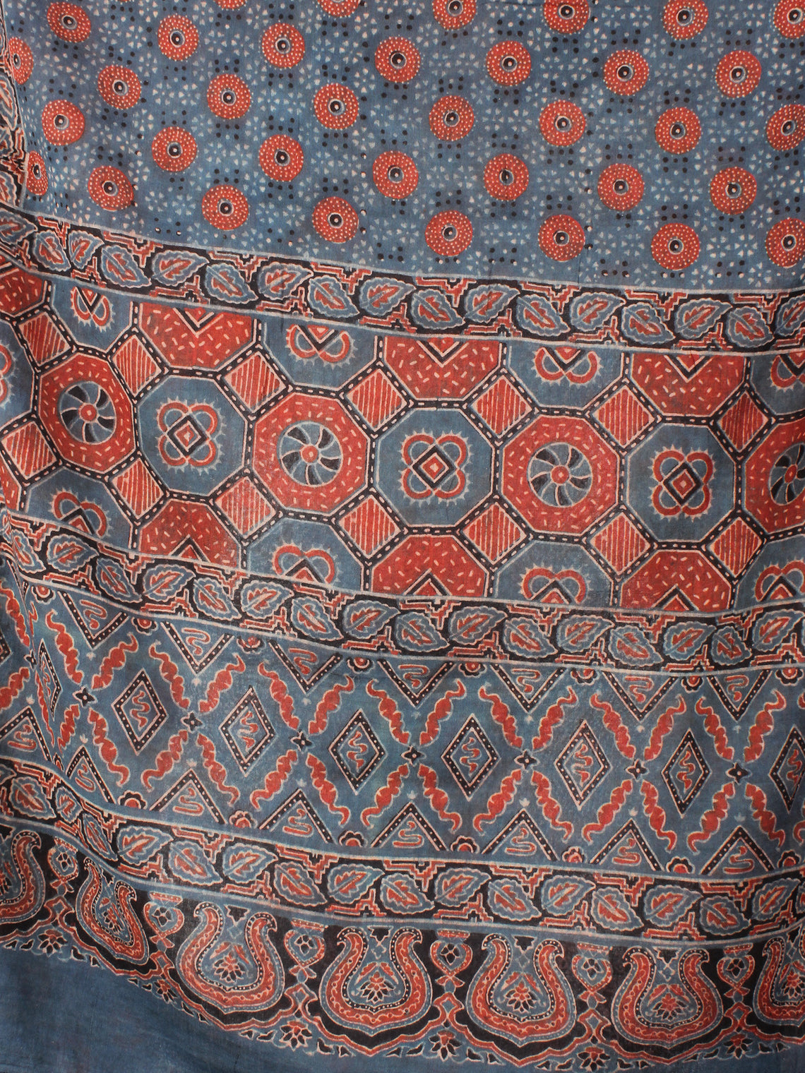 Blue Red Black Mughal Nakashi Ajrakh Hand Block Printed Cotton Stole - S6317043