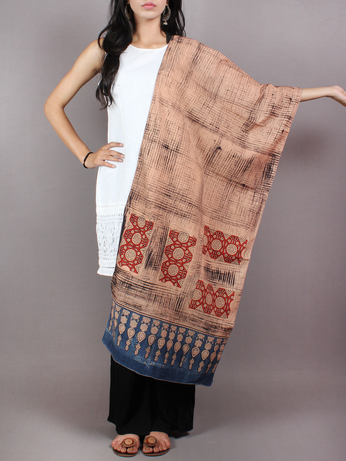 Salmon Pink Red Black Blue Mughal Nakashi Ajrakh Hand Block Printed Cotton Stole - S6317044
