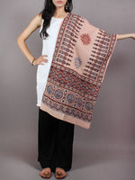 Peach Maroon Blue Mughal Nakashi Ajrakh Hand Block Printed Cotton Stole - S6317047