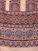 Peach Maroon Blue Mughal Nakashi Ajrakh Hand Block Printed Cotton Stole - S6317048