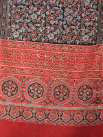 Black Red Blue Mughal Nakashi Ajrakh Hand Block Printed Cotton Stole - S6317049