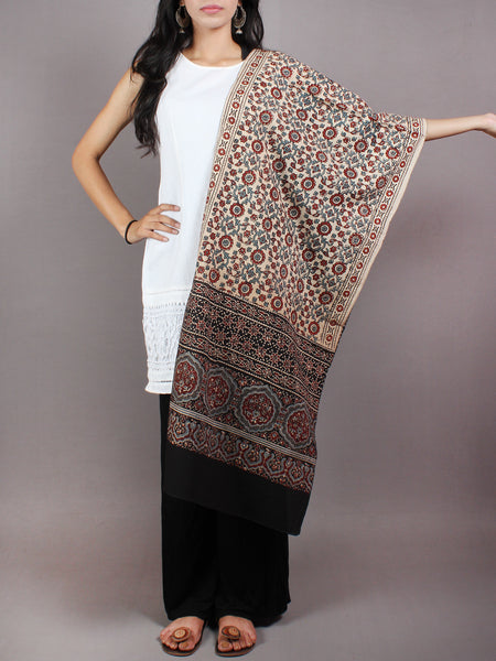 Beige Red Black Mughal Nakashi Ajrakh Hand Block Printed Cotton Stole - S6317050