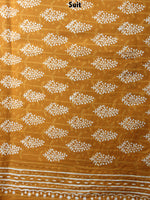 GoldenRod Yellow Beige Hand Block Printed Cotton Suit-Salwar Fabric With Chiffon Dupatta - S1628064
