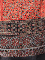Red Black Mughal Nakashi Ajrakh Hand Block Printed Cotton Stole - S6317052