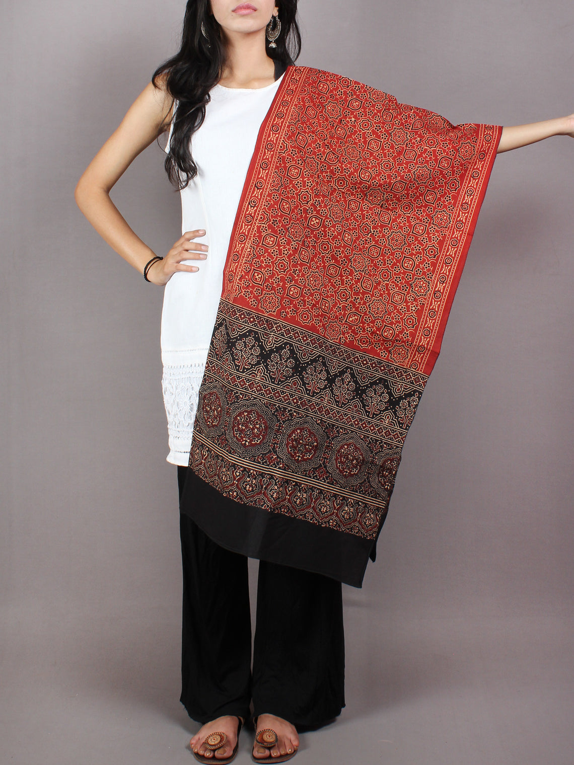 Red Black Mughal Nakashi Ajrakh Hand Block Printed Cotton Stole - S6317053