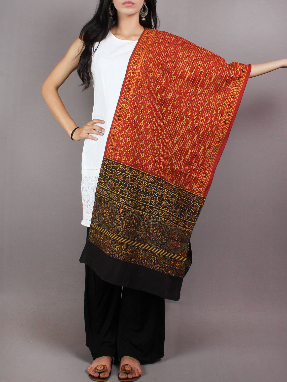 Red Black Yellow Mughal Nakashi Ajrakh Hand Block Printed Cotton Stole - S6317055