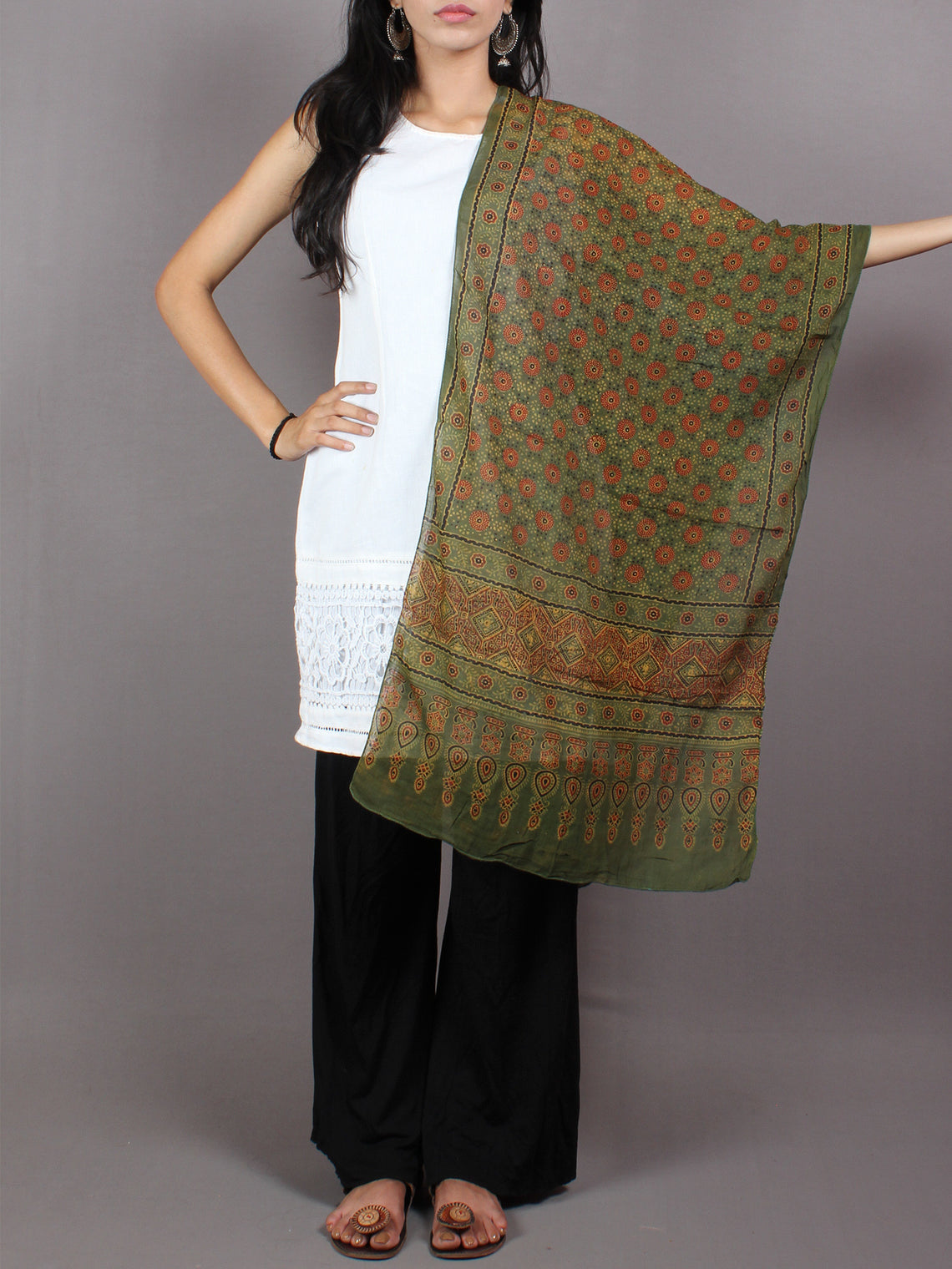 Green Red Mughal Nakashi Ajrakh Hand Block Printed Cotton Stole - S6317056