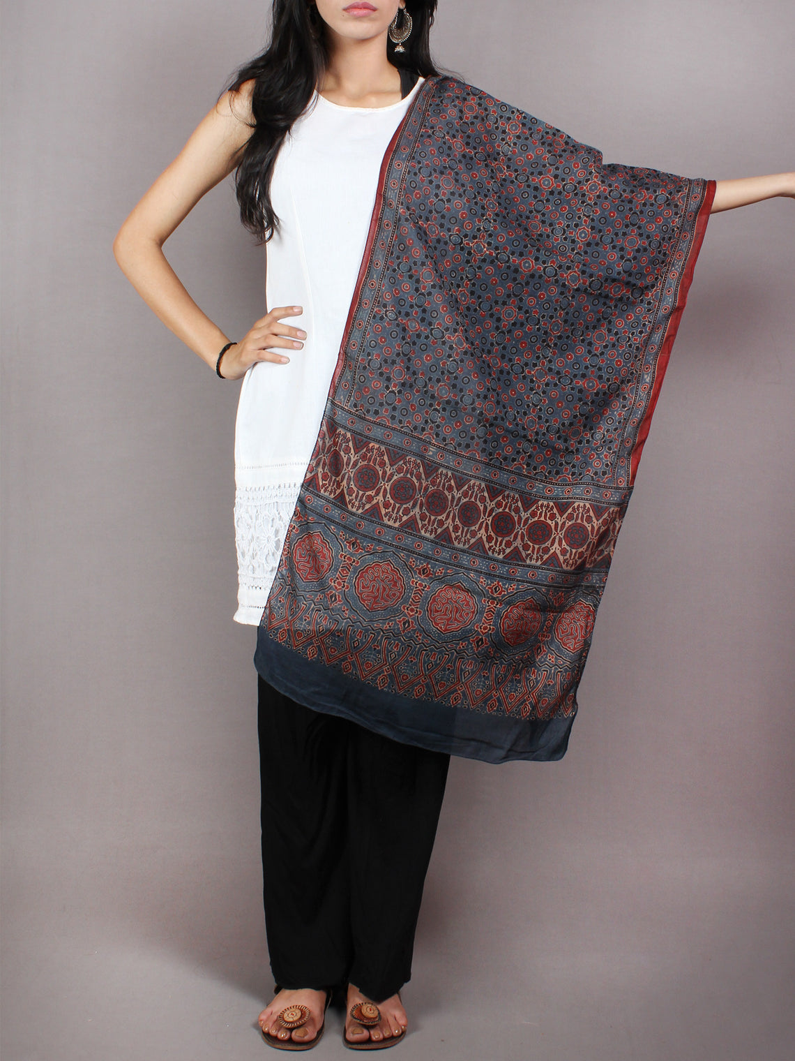 Blue Red Black Mughal Nakashi Ajrakh Hand Block Printed Cotton Stole - S6317057