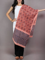 Salmon Pink Red Blue Black Mughal Nakashi Ajrakh Hand Block Printed Cotton Stole - S6317058