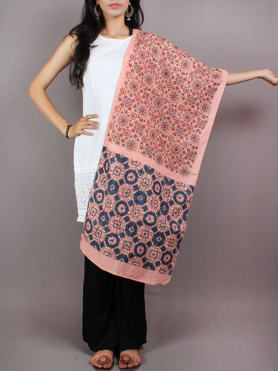 Salmon Pink Red Blue Mughal Nakashi Ajrakh Hand Block Printed Cotton Stole - S6317059