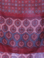 Red Black Beige Mughal Nakashi Ajrakh Hand Block Printed Cotton Stole - S6317060