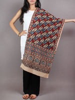 Beige Red Blue Mughal Nakashi Ajrakh Hand Block Printed Cotton Stole - S6317061