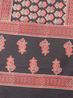 Red Beige Black Mughal Nakashi Ajrakh Hand Block Printed Cotton Stole - S6317062