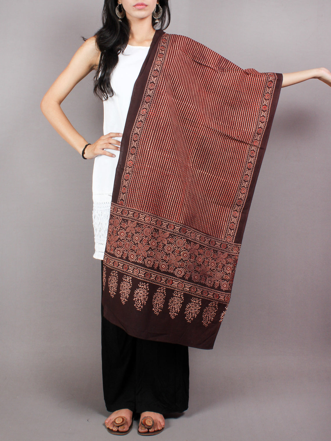 Brown Beige Red Mughal Nakashi Ajrakh Hand Block Printed Cotton Stole - S6317063