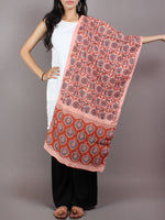 Peach Red Blue Mughal Nakashi Ajrakh Hand Block Printed Cotton Stole - S6317066