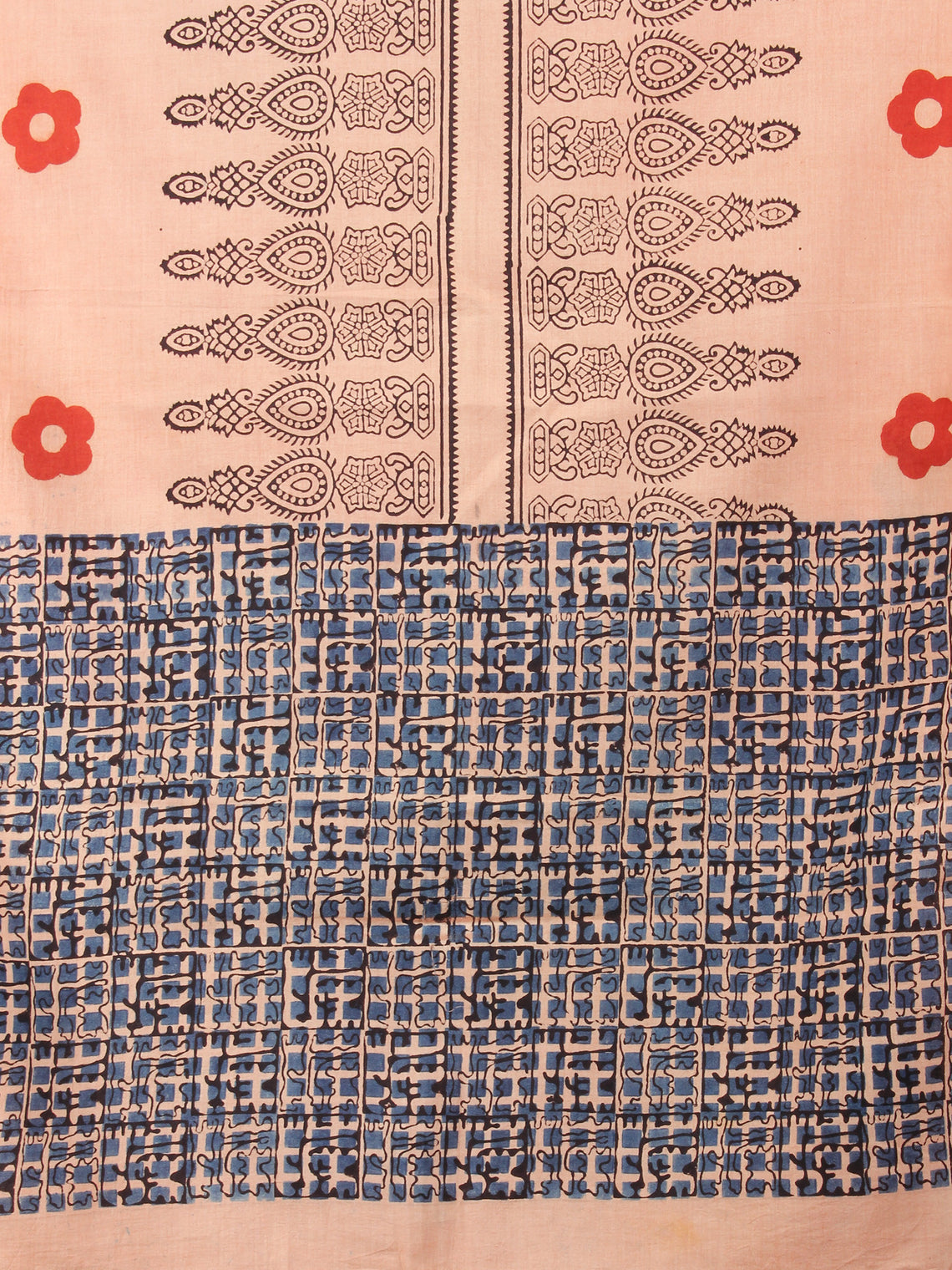 Beige Black Red Mughal Nakashi Ajrakh Hand Block Printed Cotton Stole - S6317067