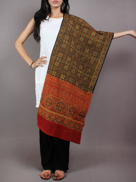 Black Red Maroon Yellow Mughal Nakashi Ajrakh Hand Block Printed Cotton Stole - S6317069