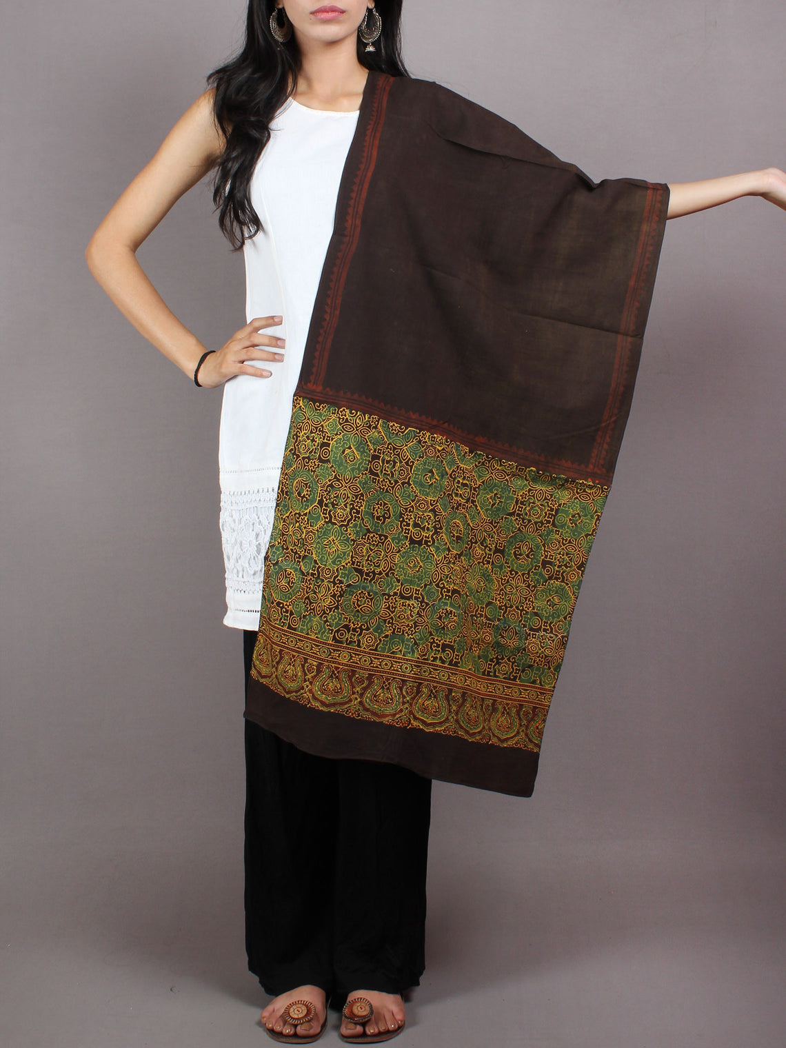 Brown Green Yellow Mughal Nakashi Ajrakh Hand Block Printed Cotton Stole - S6317070