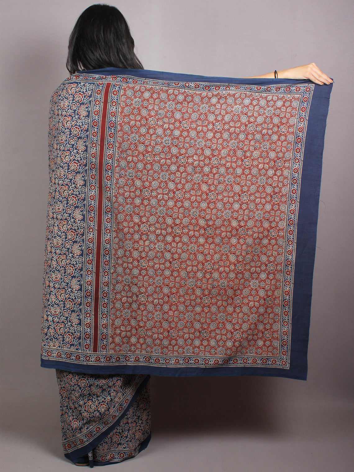 Indigo Beige Maroon Mughal Nakashi Ajrakh Hand Block Printed in Natural Vegetable Colors Cotton Mul Saree - S03170659