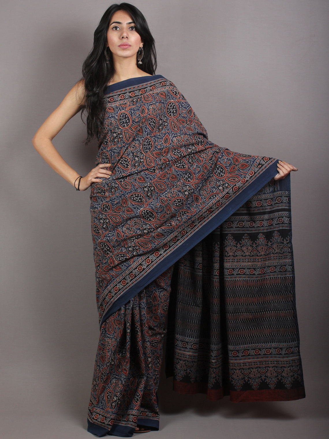 Indigo Beige Maroon Black Mughal Nakashi Ajrakh Hand Block Printed in Natural Vegetable Colors Cotton Mul Saree - S03170667