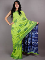 Mint Green Indigo Shibori Dyed Cotton Mul Saree  - S03170445