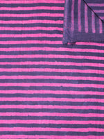 Indigo Pink Hand Block Printed Cotton Cambric Fabric Per Meter - F0916464