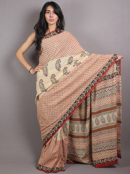 Beige Red Black Cotton Hand Block Printed Saree in Natural Colors - S03170674