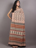 Beige Red Black Cotton Hand Block Printed Saree in Natural Colors - S03170675