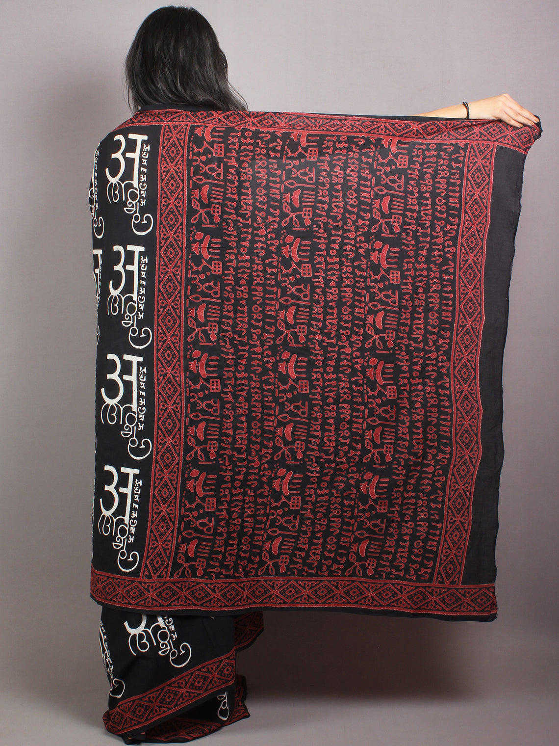 Black White Red Cotton Hand Block Printed Saree in Natural Colors - S03170677