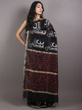 Black White Chanderi Hand Block Printed Saree With Geecha Border - S0317050