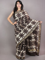 Brown Beige Ivory Hand Block Printed in Natural Colors Chanderi Saree With Geecha Zari Border - S03170679