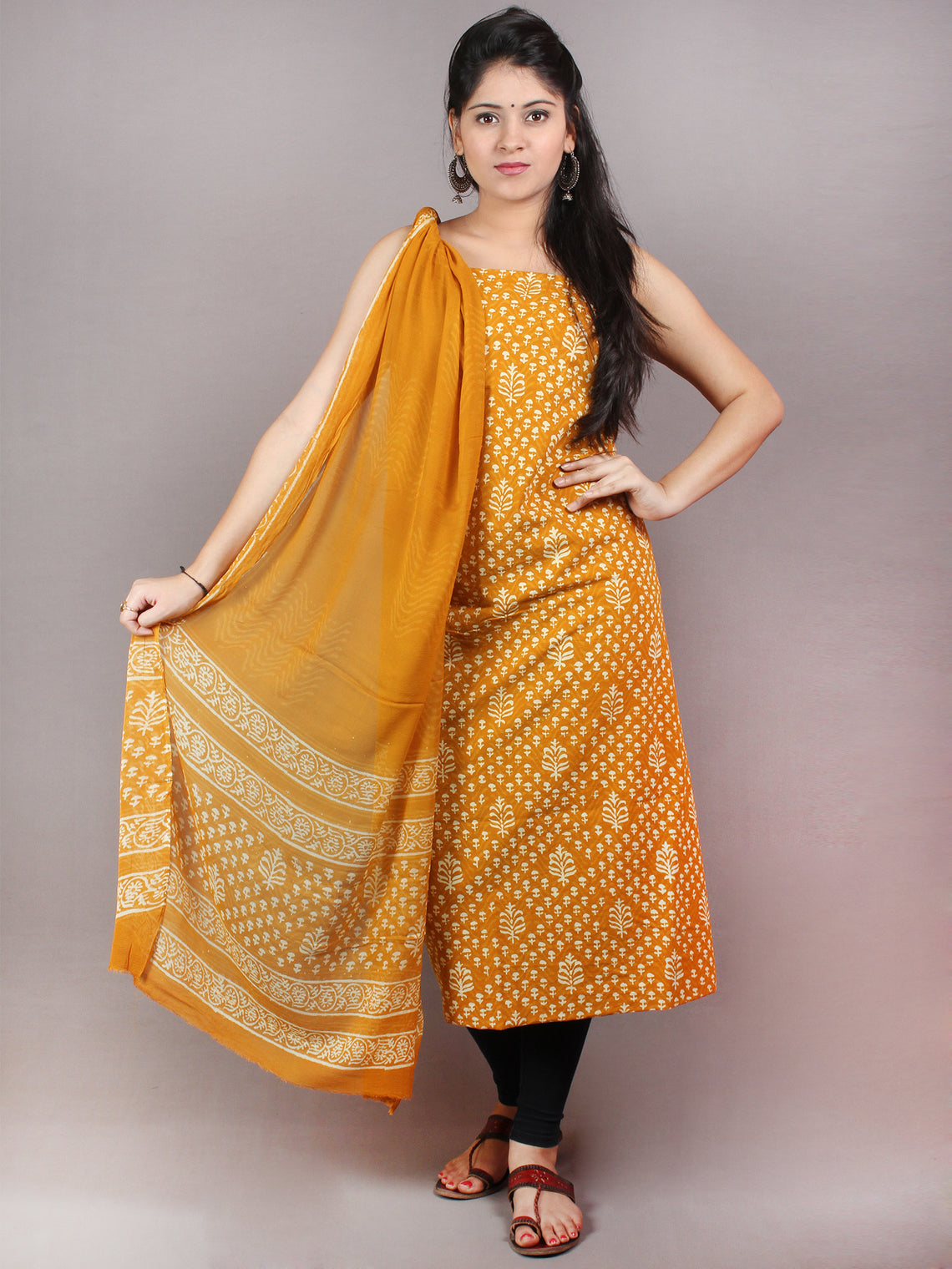 GoldenRod Yellow Beige Hand Block Printed Cotton Suit-Salwar Fabric With Chiffon Dupatta - S1628068
