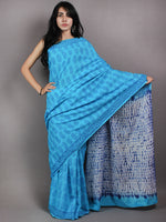 Azure Indigo Shibori Dyed Cotton Mul Saree with Persian Blue Motiffs - S03170616